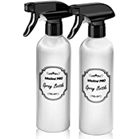Kiloline Empty PET Plastic Spray Bottles (2-Pack) Refillable 17oz.Black Trigger Sprayer w/ Mist/Stream/Off Settings Leakage-proof|Container for Water/Cleaning Products/Essential Oils/Vinegar|Reusable