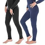 Damen Thermounterwäsche | lange Unterhose | Thermounterhose 2-er Set mit Ringelmuster - Jeans/Anthrazit - 40/42