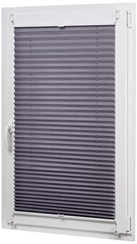 AmazonBasics - Estor enrollable plisado, de tela de poliéster color liso, con sistema de clips, 60 x 130 cm, Gris