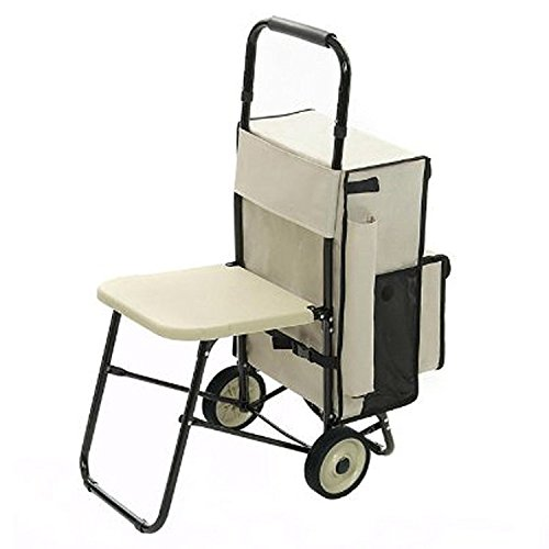 Trolley Portaspesa Multifunzione - Esclusivo carrello porta spesa con seggiolino integrato richiudibile - Rest\'N Roll