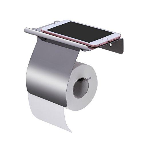 Preisvergleich Produktbild Papierhalter,  KWOKWEI Toilettenpapierhalter mit Ablage,  Toilettenpapierhalterung / Rollenhalter Klopapier aus Edelstahl,  WC Rollenhalter mit 2 Arten der Installation,  Selbstklebender 3M Kleber Klopapierhalter mit Deckel für Badezimmer oder Toilette