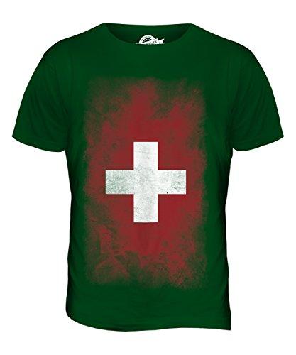 CandyMix Schweiz Verblichen Flagge Herren T Shirt Flaschengrün