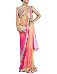 Isha Enterprise Women's Nylon Net Lace Work Saree (Pink & Cream)