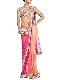 Helix_Enterprise Women's Nylon Net Lace Work Saree (HEFP-3005_Pink & Cream)