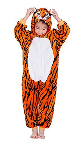 Woneart Kinder Schlafanzug Einhorn Pyjama Tier Overall Tierkostüme Jumpsuits Weihnachten Karneval Cosplay Kostüm für Mädchen Jungen (Tiger, 100 for - Kind Tiger Pyjama Kostüm