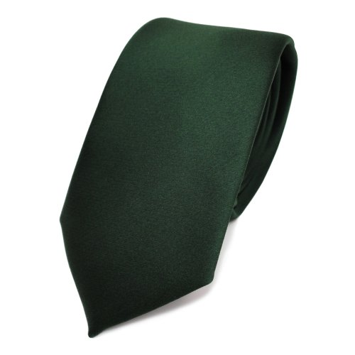 Fete Natürlichen (TigerTie schmale Satin Krawatte grün dunkelgrün tannengrün uni - Binder Schlips Tie Polyester)