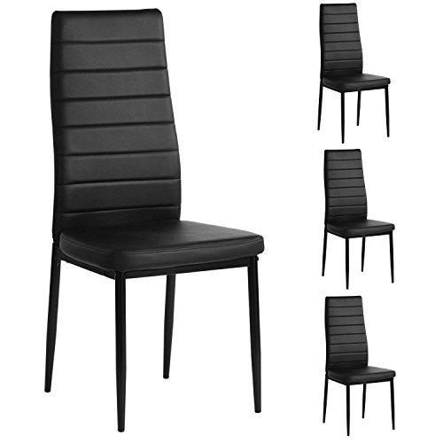 Aingoo Kitchen Dining Chairs Set of 4 Black Home Chairs PU Leather Elegant Design High Back Furniture