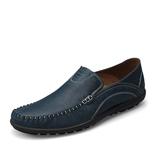 Shenn Homme Conduire Une Voiture Glisser Sur Confort Cuir Mocassins Chaussures Marine