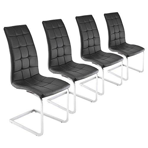 MACO Import Freischwinger 4er Set schwarz Esszimmerstühle Schwingstühle Chrom Kunstleder