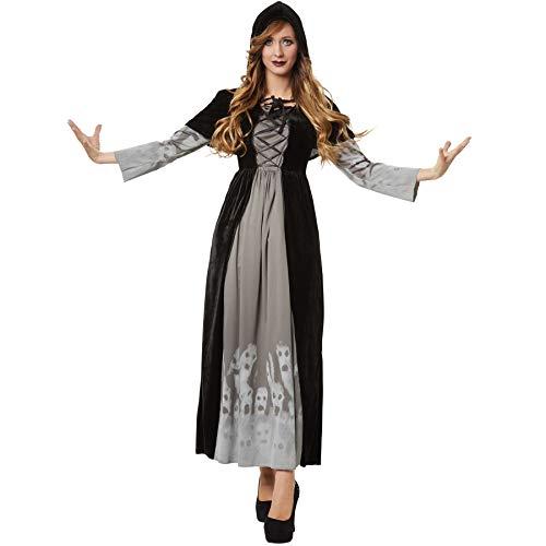 Frau Kostüm Magierin - dressforfun 900509 - Damenkostüm machtvolle Magierin, Langes Gewand aus schwarzem Samt inkl. Kapuzencape (L | Nr. 302409)