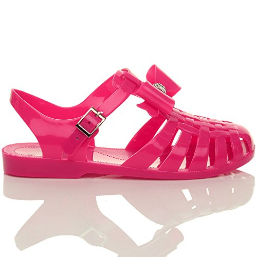 Donna tacco basso piano gomma 90s retrò fiocco romano sandali gladiatore taglia Fucsia rosa