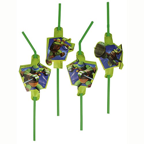 PARTY DISCOUNT NEU Trinkhalme Ninja Turtles, 8 Stk. 24 cm