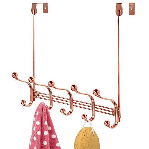 mDesign praktische Hakenleiste - Wandgarderobe mit 10 Garderobenhaken für Küche, Flur und Bad - Haken zur Aufbewahrung von Mänteln, Jacken, Schals und Handtüchern - rosé-goldfarben