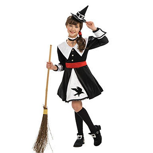 süße Hexe Deluxe Salem Witch Costume Kinder Fasching Kostüm Kleid + Hut + Halsdeko + Schuhcover (104-116)