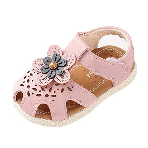 Auxma Baby Mädchen Weiche Sohle Sandalen Rutschfeste Kleid Hochzeit Krippe Schuhe für 6-36 Monate (20 EU, Rosa) (Kind-kleid-schuhe Großes)