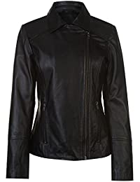 Firetrap Womens Blackseal Embroidered Leather Jacket PU Coat Top Zip Fold Over