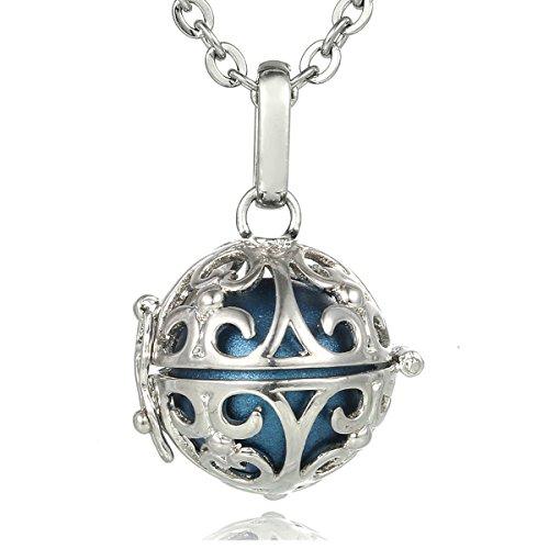 Morella® Damen Halskette Edelstahl 70 cm mit Ornament Anhänger und Klangkugel blau Ø 16 mm in Schmuckbeutel