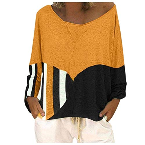 Energy Womens Stripe Splicing Long Sleeve Printing Slim Pullover Tshirt Top Yellow 2XL -