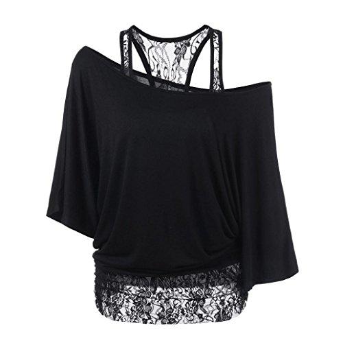 Damen Schön Spitze Lose Bluse Amlaiworld Stitching Fledermausärmeln Mantel T-Shirt (Schwarz, M)