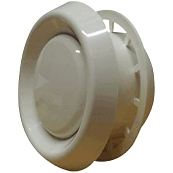 """Adjustable Air Valve - Round White for 100mm/4"""" Duct"""