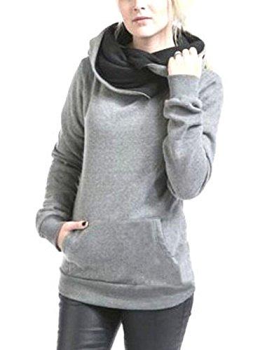 Felpa Donna Felpa Con Cappuccio Sportiva Elegante Manica Lunga Con Tasca Tinta Unita Vintage Fashion Casual Autunnale E Invernale Felpe Pullover Maglia Hoodies Top Grigio