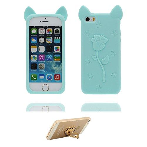 Coque iPhone 5, iPhone 5S Case [ TPU 3D Cartoon Rose Oreilles de porc ] Skin Cover iPhone 5G SE 5s 5C Étui, Shell souple durable anti-chocs Rose & ring Support # 1