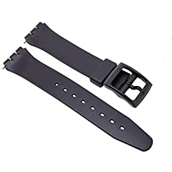 17mm Replacement Synthetic Plastic Black Watch Strap For Swatch Watch