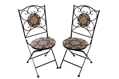Hochwertiges aufwendig gearbeitetes Mosaik Stuhl Set bestehend aus 2 Stühlen NA1514B042 stabiles...