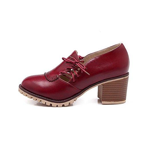 VogueZone009 Femme à Talon Correct Couleur Unie Lacet Rond Chaussures Légeres Rouge Vineux