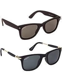 Elegante' Combo Of 2 UV Protected Black Wayfarer Sunglasses For Men