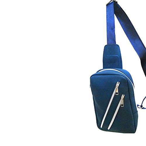Borsa A Tracolla Da Uomo Yy.f Nuovo Sacchetto Dellunità Di Elaborazione Del Torace In Pelle Borse Moda Di Colore Solido Classico Borsa Casual Lo Stoccaggio Borsa Messenger 2 Colori Blue