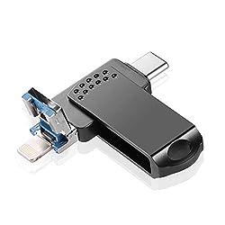 WNTHBJ Mobiltelefon U-Disk, Metall rotierende U-Scheibe, geeignet für den Typen-C USB DREI-in-one U-Disk, Multifunktions-USB-Flash-Laufwerk (2 Stück),128gb