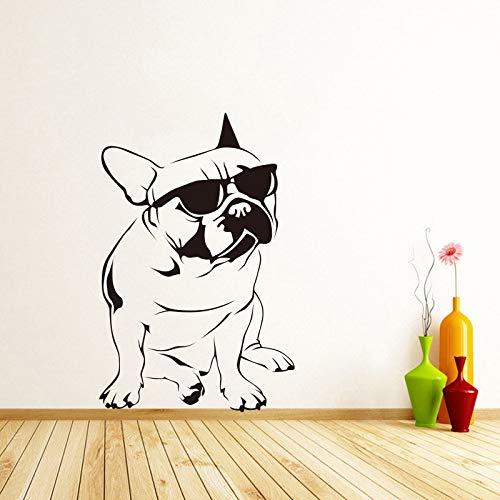 Lustige Hund Sonnenbrillen Französisch Bulldog Wandaufkleber Vinyl Wandbild Wandkunst Aufkleber Kinderzimmer Tapete Dekoration 30X51 Cm