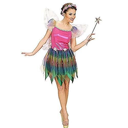 Damen-Kostüm Fee, Kurzes Buntes Kleid mit Feen-Flügeln, Regenbogen-Elfe, (Kostüme Flügel Regenbogen)