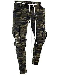 JiaMeng Deporte Jogging Pantalones CCamuflaje Deportivo Correas de sujeción Pantalones de chándal Sueltos onales Pantalón con cordón Ajustable