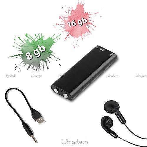 Mini Rec Pro Grabadora de voz 8GB o 16GB audio Voice Recorder oculta ambientale Reproductor de MP3Pen Drive con auriculares 8 GB Negro