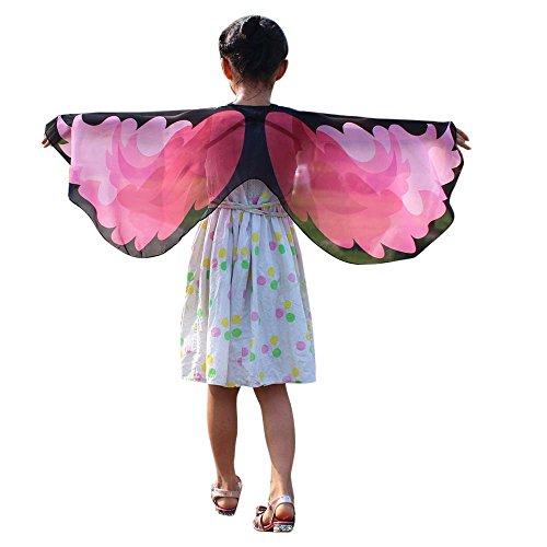 VEMOW Heißer Verkauf Kind Kinder Chmetterling Kostüm Jungen Mädchen Böhmischen Schmetterlingsschal Pashmina Cosplay Party Kostüm Zubehör(X1-Schwarz, 118 * 48CM) (Freiheitsstatue Kostüm Kind)