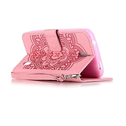 Hülle für iPhone 6 6S (4.7 zoll), Owbb Prägeartig Diamond Campanula Blumen Handyhülle PU Ledertasche Flip Cover mit Stand Function Innenschlitzen Design Weiß Lila(Ein freier Stylus als Geschenk) Rosa