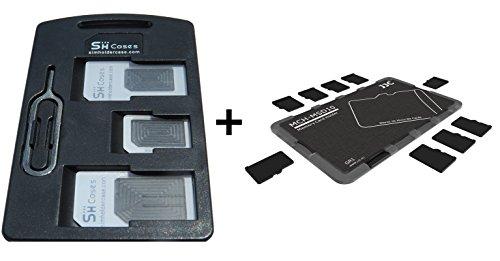 SIM Card Holder set con adattatori + memory card Holder Storage Case per 10schede MicroSD-2articoli