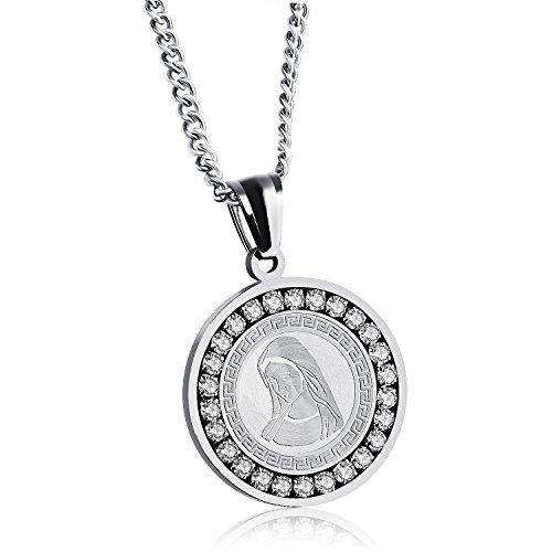 La virgen de guadalupe medalla vergine maria da uomo donna in acciaio inox cattolica zircone rotondo ciondolo collana lucido (oro), acciaio inossidabile, cod. ugx1141b