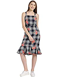 fa75e2f778f Zink London Dark Navy Checkered Floral Printed A-Line Dress for Women