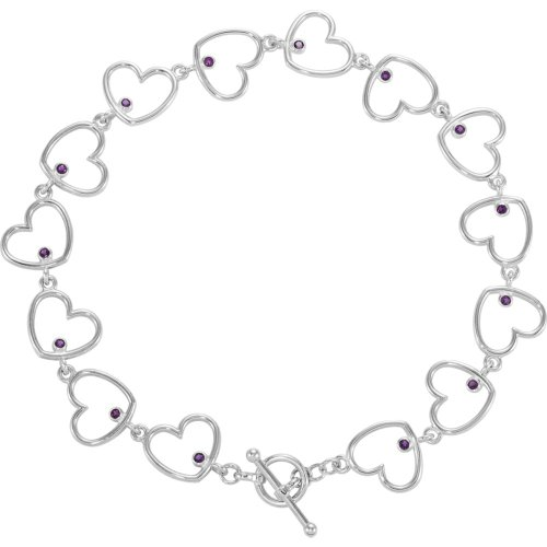 Sterling Silber 1,5mm rund Amethyst poliert 20,3cm Herz Link Armband (Knöchel Armbänder String)
