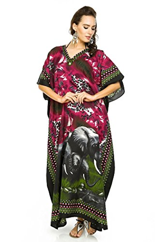 Looking GLAM NEUF pour femmes coupe oversize MAXI Kimono Tunique caftan robe caftan taille Libre pink-17009