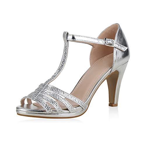 SCARPE VITA Damen Pumps Riemchensandaletten Strass Sandaletten Stiletto High Heels Metallic Schuhe Absatzschuhe Elegante 183225 Silber 38 High Stiletto Heel