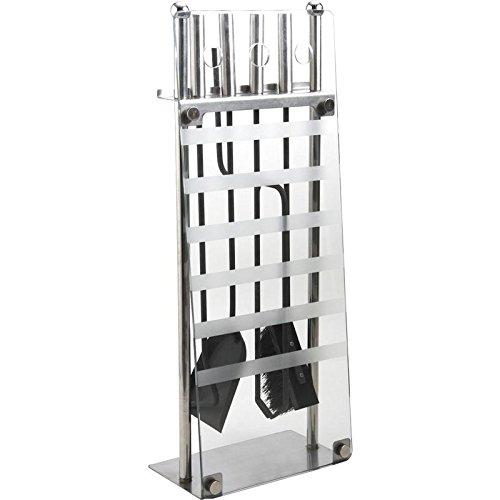 Aubry Gaspard 185S - Set di 4 accessori in metallo e vetro per camino