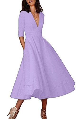 OMZIN Damen Vintage Retro Glanz Abend Skater Kleid Licht lila L (Kleid Licht)