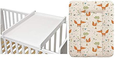 KOKO- Wickelbrett | Wickeltisch | EMILIA | Wickelaufsatz für Betten 140x70 und 120x60 cm weiss inkl Wickelauflage