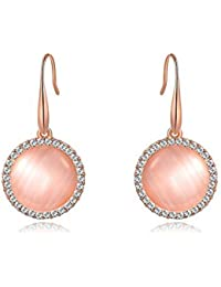 Genuine Rose Jewellery 18ct Real Rose Gold Plated Mother Of Pearl Opal Round Earrings With Swarovski Elements
