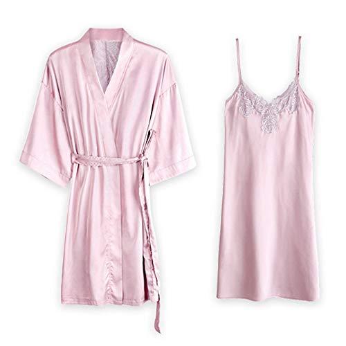 AXSY Bademantel, Robe Frauen Kimono Morgenmantel Satin Kimono Robe Lange Nacht Kleid des Mädchens Bonding-Partei-Hochzeit Pyjama-Party Pyjamas,XL