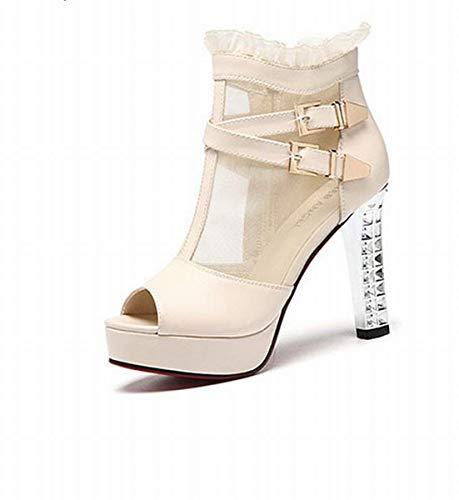 HhGold Roma mit Die Sandalen der Herr high-Heeled Aufsatz von Fisch Schuhe Schuhe Martin (Farbe : Beige, Größe : 35)
